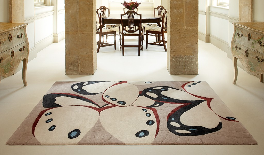 Wool and silk designer rug