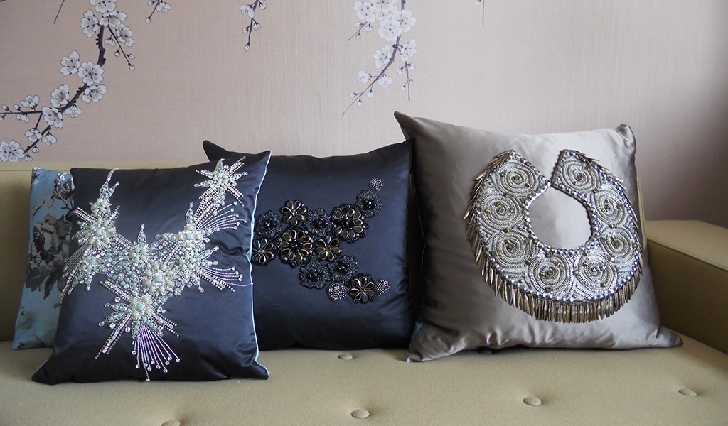 Designer silk satin cushions
