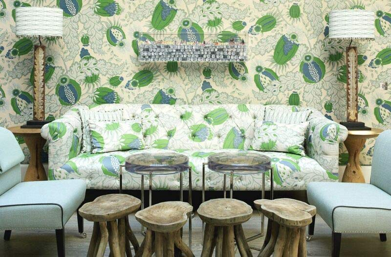 Matching wallpaper and upholstery