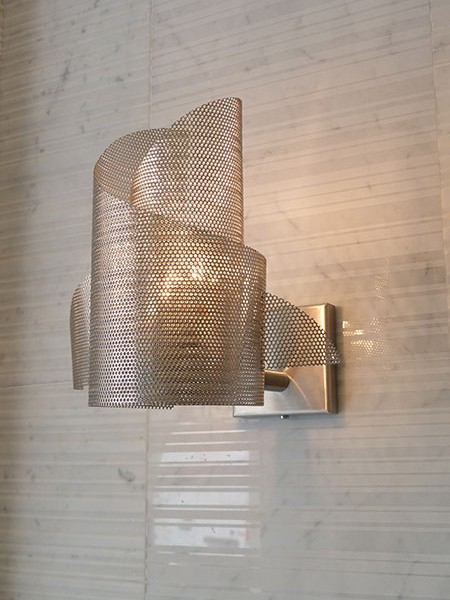 Custom wave wall light in brass